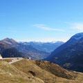 St. Gotthardpass mit Blick auf die italienische Schweiz.