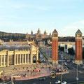 Blick auf den Montjuic von der Aussichtsplattform der ehemaligen Stierkampfarena.
