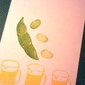 枝豆とビール消しゴムハンコ