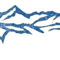大岡村からの山並み 消しゴムハンコ mountain range from Oh-oka village rubber stamp