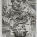 Löhning, Thomas Leipzig, Radierung, 2009. Auflage 50. Blatt 330 x 255 mm. Platte 200 x 150 mm. Mops und Tod  als Spielkarte. 001