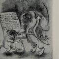 Smajic, Susanne. Konstanz.Radierung. 2012. Auflage 20. Blatt 390 x 270 mm. Platte 230 x 200 mm. Möpschenschule. Maxenmops, der Bösewicht ! 001