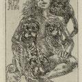Ehrt. Rainer, Kleinmachnow, Radierung, 2010. Auflage 50. Blatt 150 x 105 mm. Platte 115 x 80 mm. Möpse, Frau, und Tod.  001