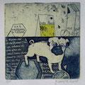 Yelagina, Irina. RUS. Radierung, 2009. Auflage 50. Blatt  180 x 170 mm. Platte 130 x 125 mm. Greenpeace Mops. 001