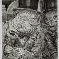 Löhning, Thomas. Leipzig. Radierung, 2009. Auflage 50. Blatt 330 x 255 mm. Platte 195 x 145 mm. Mops schaut Tod im Spiegel.   001