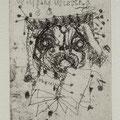 Hussel, Horst , Berlin, Radierung, 2009. Auflage 40. Blatt 180 x 130 mm. Platte 90 x 60 mm. Mops Darwin.001