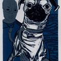 Lange, Andrea . Kemberg. Holzschnitt, 2010  Auflage 50. Blatt 270 x 195 mm. Platte 190 x 135 mm. Darwin verweist seinen Herrn in die zweite Reihe. 001