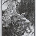 Haller, Bettina Chemnitz. Acrylstich 2009. Auflage 90. Blatt 135 x 199 mm. Platte 110 x 85 mm. Mops Darwin verteidigt seinen Herrn in der Apotheke gegen den Tod. 001
