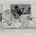 von Veh, Tim , Baruth, Radierung, 2011. Probedruck II, Blatt 180 x 230 mm. Platte 150 x195 mm. Tod im Boudoir.  001