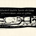 Schaum, Franziska, Berlin, Holzschnitt 2015, Mops zieht seinen toten Herrn, Auflage 15, Platte 120x260mm