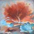 Fleur de coquillage -Acrylique et mixtes - Encadrée - 20x20 pouces