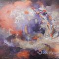 VENDUE-Joyeuse envolée - Acrylique et mixtes sur toile - 36x24 pouces