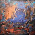 PARADE - Acrylique et mixtes- 30 x30 pouces-Toile galerie