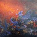 VENDUE-Vol de nuit -Acrylique et mixtes sur toile(Encadrée) - 20x30 pouces-