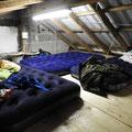Das Nachtlager auf dem Dachboden
