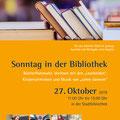 Sonntag in der Bibliothek, Plakate Stadtbücherei Burghausen, Oktober 2019