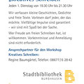 Flyer Kreatives Schreiben, Stadtbücherei Burghausen, Oktober 2019