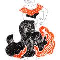 フラメンコ ダンサーの手描きイラスト