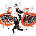 フォークダンス ダンサーの手描きイラスト