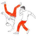 ブレイクダンス ダンサーの手描きイラスト