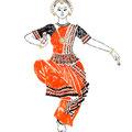 インド舞踊 ダンサーの手描きイラスト