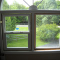 Replaced stationary windows with single hung windows