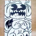 突然変異したキャラクター ジェッソ・木製パネル 鈴木匠子 The character who mutated # Gesso on wood panelling H727×w515×D24mm Shoko Suzuki 2018