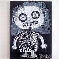 突然変異したキャラクター13 ジェッソ・マーカー・キャンバス 鈴木匠子 The character who mutated #13 Gesso and marker on canvas  H333×w242×D20mm Shoko Suzuki 2018