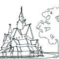 Stabkirche in Norwegen Umrisszeichnung