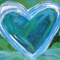Herz blau auf grün 2004 , 40 x 30 cm , Öl und Acryl