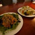 若鶏の唐揚げ特製ダレ和え&本格カタヤキソバ。思い出したらよだれ出るわ。