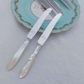 Vintage Edelstahl Teemesser mit Perlmutt Griffen.