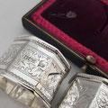 Antike Sterling Silber Serviettenringe Walker & Hall 1902