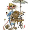 Petit parasol et chevalet de campagne