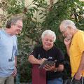 左からCelsinho Silvaさん、João Lyraさん、Cristovão Bastosさん! Cristovãoさんには昨年のレコーディングのお礼を伝えることができました。