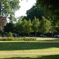 """Ganz nah: Der kleine Park vor dem """"Roten Elefanten""""."""