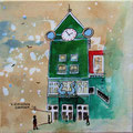 """Station Zaandam"" 2017, acryl en inkt op canvas, 30x30cm NIET BESCHIKBAAR"