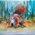 """""""Een eekhoorn"""" 2018, acryl en inkt op linnen, 18x24cm, prijs 120,00e nu tijdelijk 60,00e"""