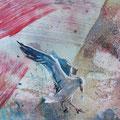 """""""De meeuwen"""", acryl en inkt op papier, 15x32cm NIET BESCHIKBAAR"""