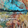 """""""Het waterriet"""", acryl en inkt op papier, 8x13cm"""