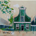 """""""Eerste ah winkeltje"""" 2017, acryl en inkt op canvas, 30x30cm"""