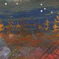"""""""De kerstboompjes"""", acryl en inkt op papier, 4x10cm"""