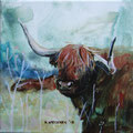 """""""Rooie koeien"""" 2018, acryl en inkt op canvas, 20x20cm, prijs 145,00e"""