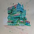 """Inntel Hotel Zaandam"" 2017, inkt op papier, 30x42cm  NIET BESCHIKBAAR"