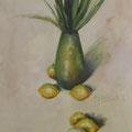 """""""De gladiolen en de citroenen"""" 2017, olieverf op canvas, 50x150cm NIET BESCHIKBAAR"""