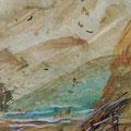 """""""De trap naar de strand"""", acryl en inkt op papier, 11x21cm NIET BESCHIKBAAR"""