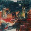 Londen, acryl en inkt op schildersdoek, 90x120cm