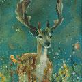 """""""Het hert"""" , acryl en inkt op linnen, 20x40cm NIET BESCHIKBAAR"""