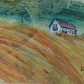 """""""Het huisje op de duinen"""", acryl en inkt op papier, 20.5x10cm"""