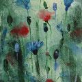 """""""De klaprozen en korenbloemen"""", acryl en inkt op canvas, 13x18cm, NIET BESCHIKBAAR"""